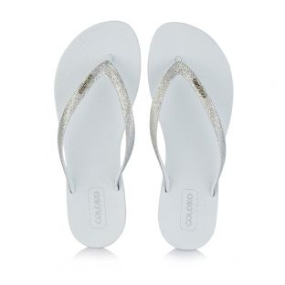 Coloko Womens Orchid White Flip Flops